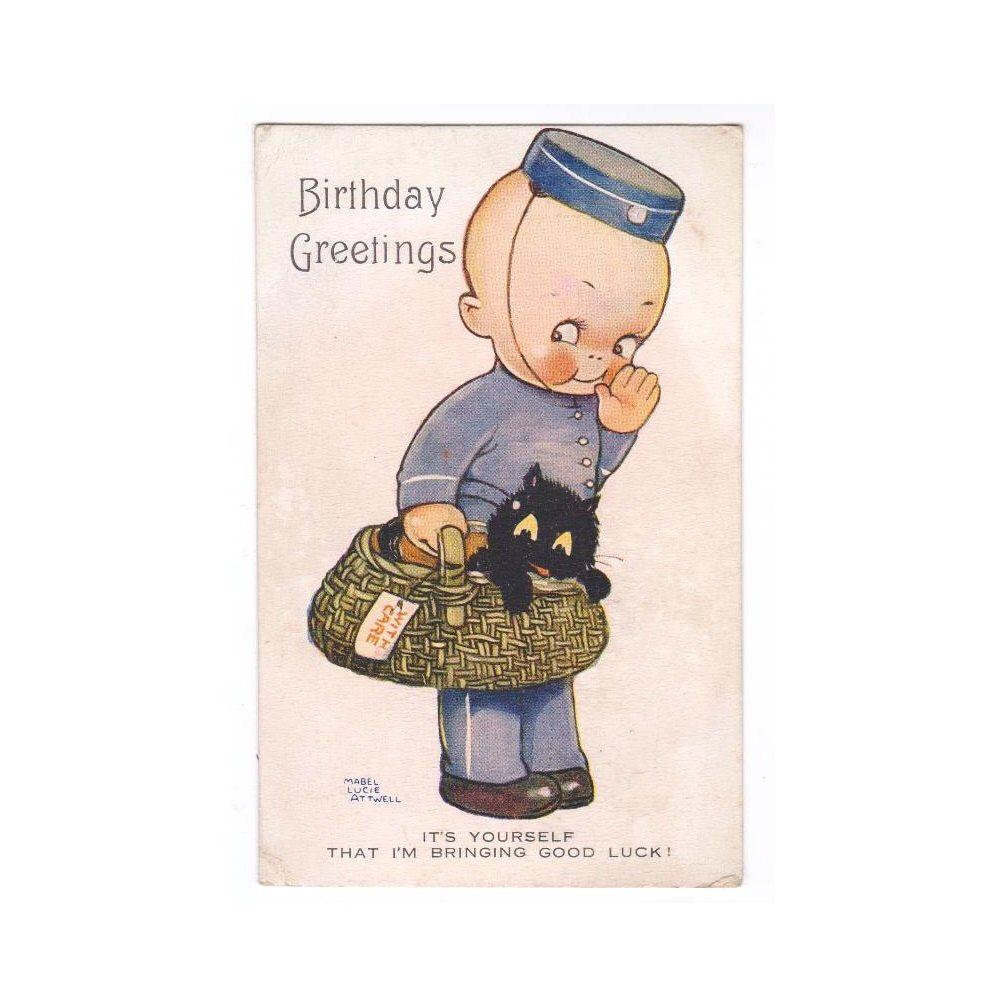 Mabel lucie attwell vintage 1920s postcard birthday greetings card mabel lucie attwell vintage 1920s postcard birthday greetings card little boy delivery black kitten cat basket kristyandbryce Choice Image