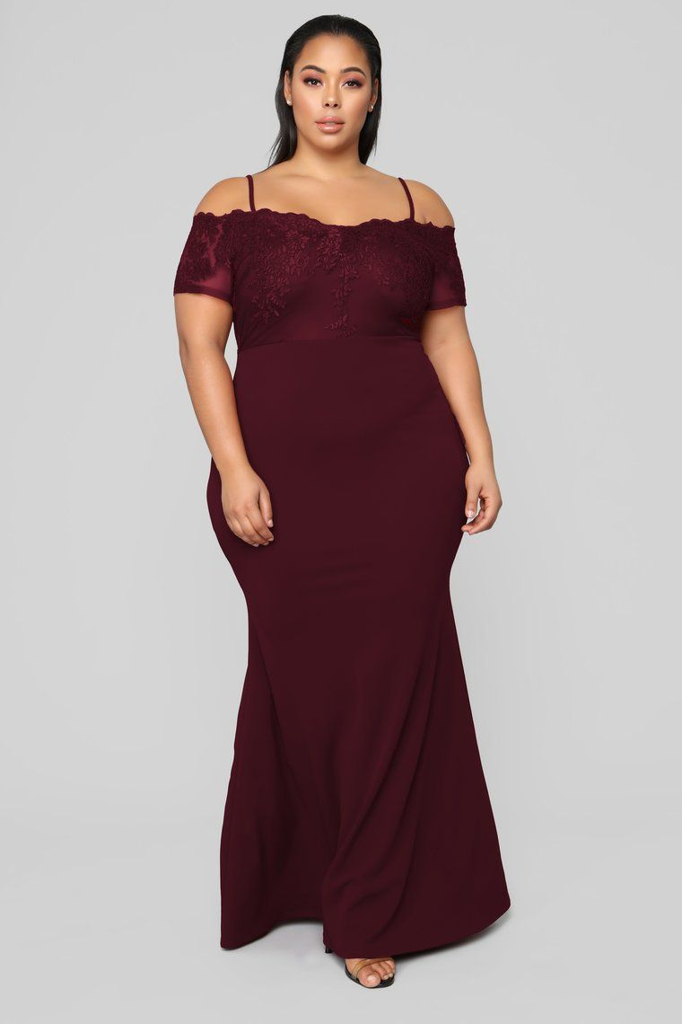 Aurora Off Shoulder Maxi Dress - Wine | Plus size | Dresses ...