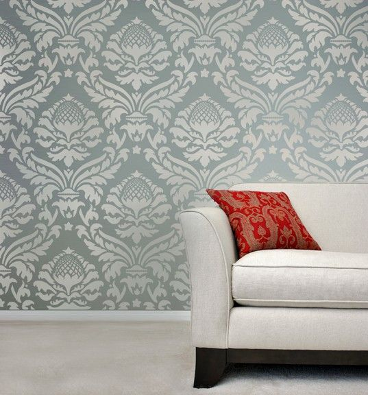 Craft Gabrielle Damask Stencil Fabric Wall Reusable Stencils for DIY Decor