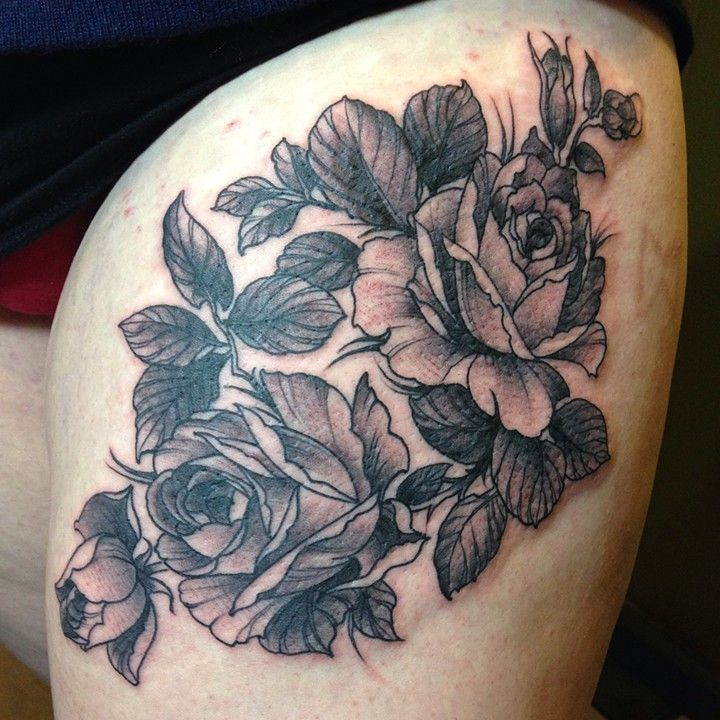 antique roses by Dan Kytola at Uptown Tattoo in Minneapolis MN | The ...