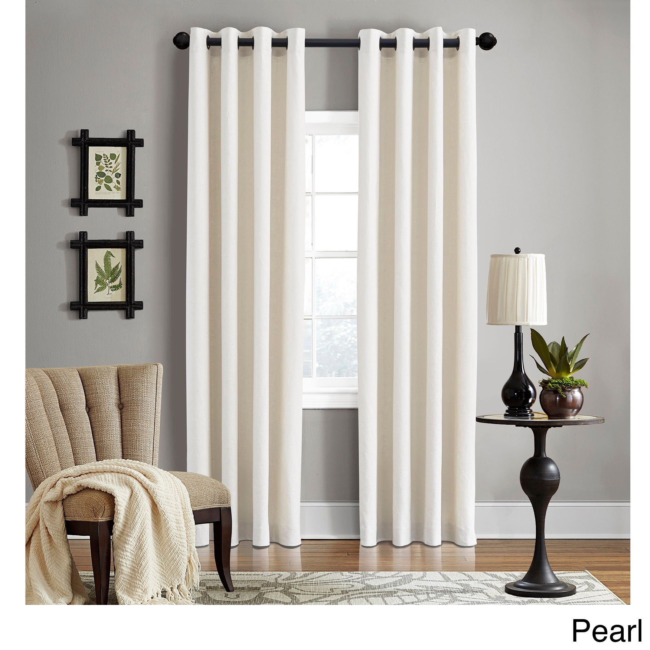 grand luxe linen gotham pearl grommet curtain panel 96inch pearl beige offwhite size 50 x 96