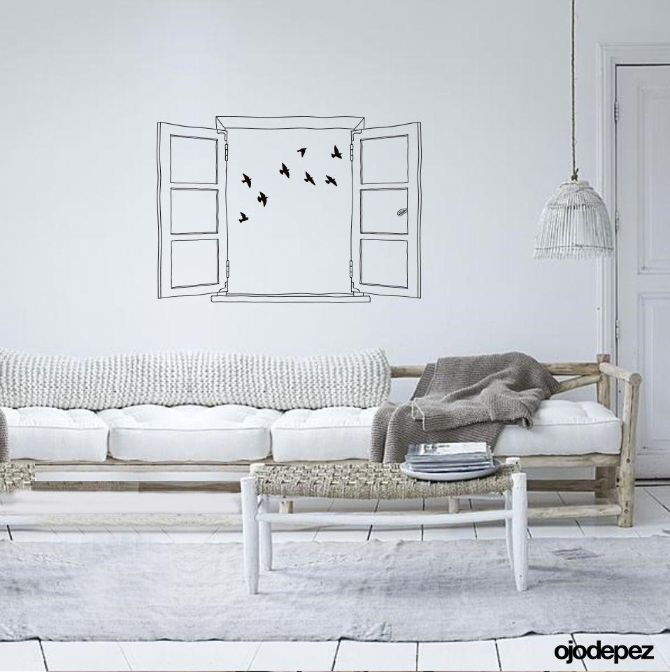 Vinilo Decorativo Home 041 Ventana Con P Jaros Vinilos  ~ Murales Decorativos Para Habitaciones De Adultos