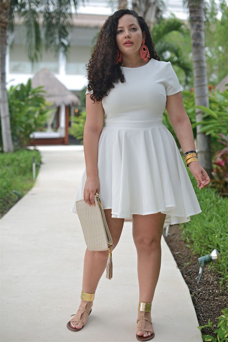 612b600dc22 Girl With Curves  Tanesha Awasthi. Such a cute white dress for spring and  summer occasions! The gold accessories make this look a knock-out!