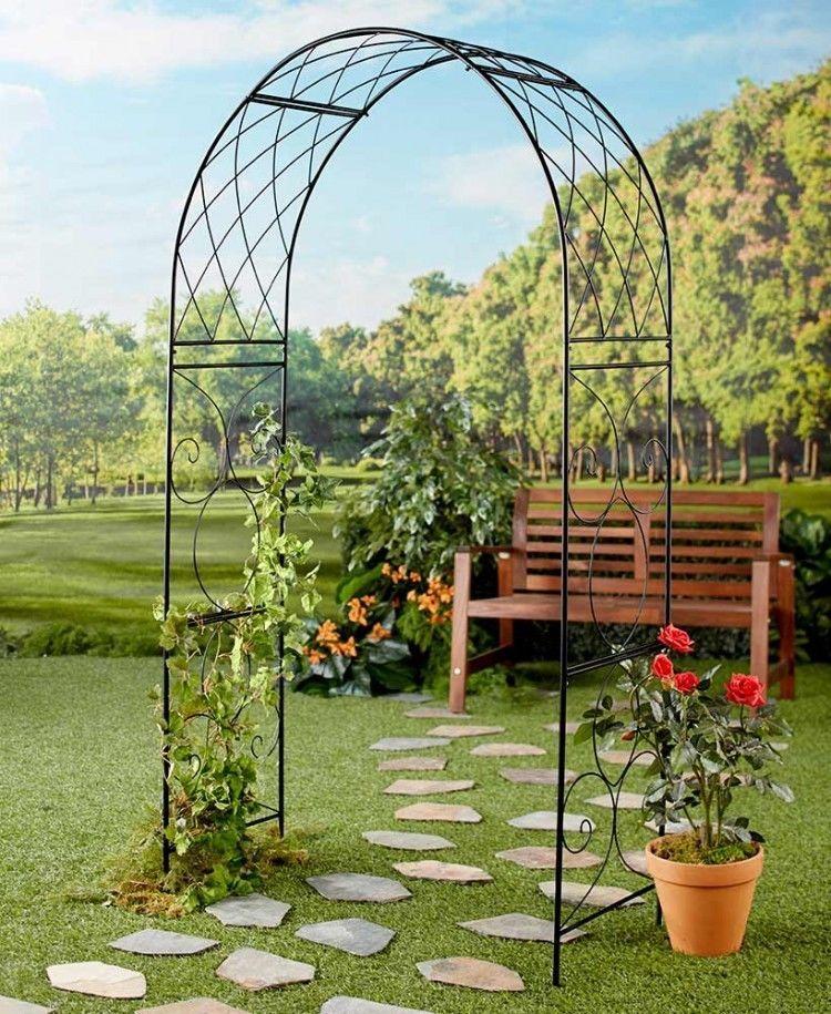 Black Metal Garden Arch 6 Foot Scrolled Scrollwork Garden Patio Outdoor  Yard New #BlackMetalGardenArch