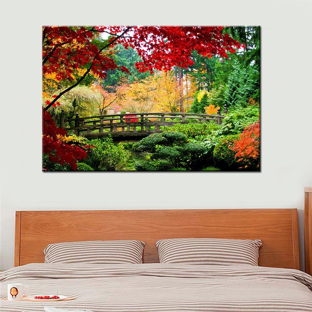 Bridge Scene Wall Art Canvas Painting Landscape Wall Art Canvas
