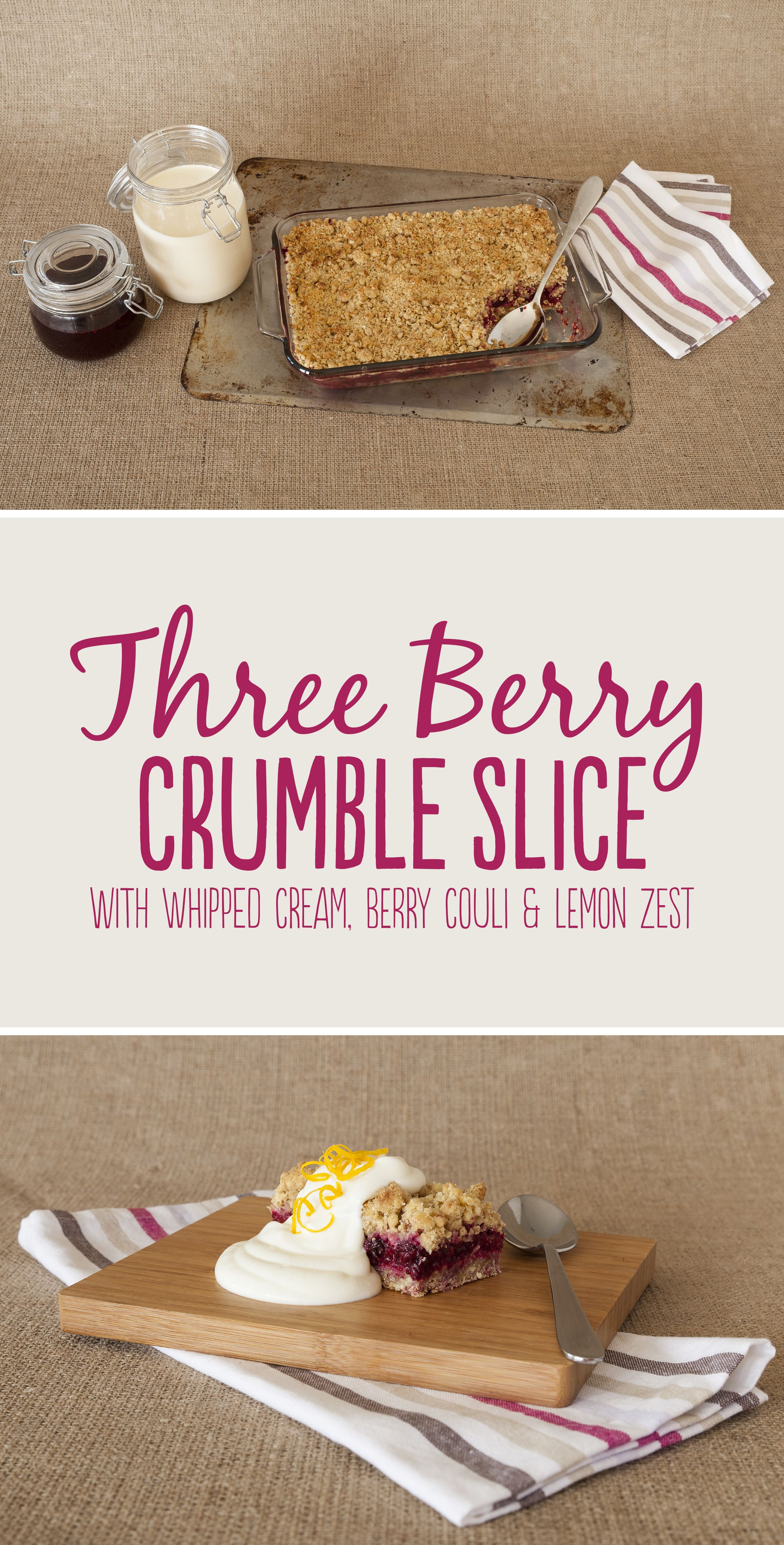 Three Berry Crumble Product Photography Styling Www Themark Co Nz Berry Crumble Portfolio Design Graphic Design Photography
