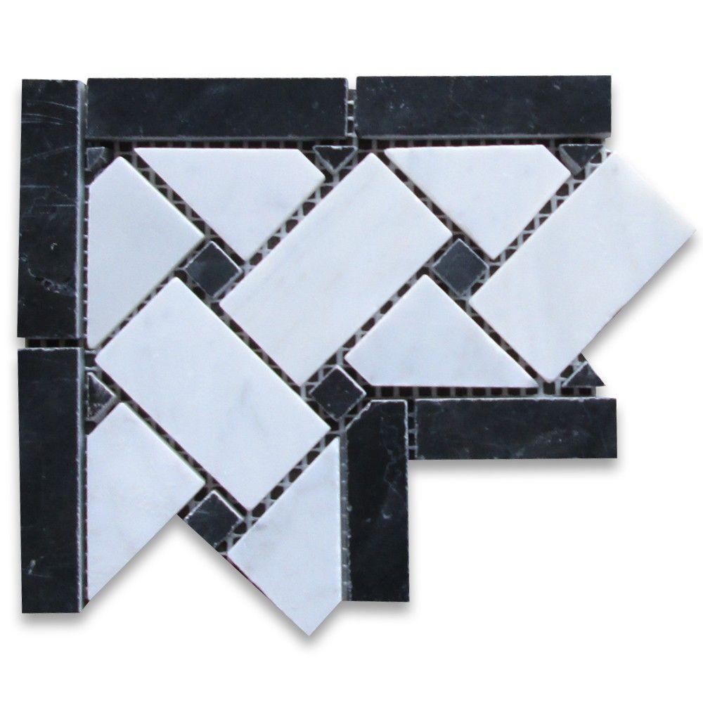 Carrara White 4x4 Basketweave Mosaic Corner w/ Black Dots Polished ...