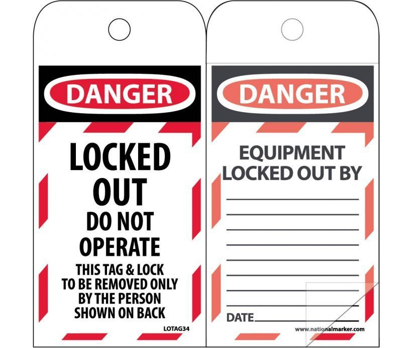 SELF LAMINATING Tag, Lockout, Danger, LOCKED OUT DO NOT OPERATE, 6X3, POLYTAG, BOX OF 150
