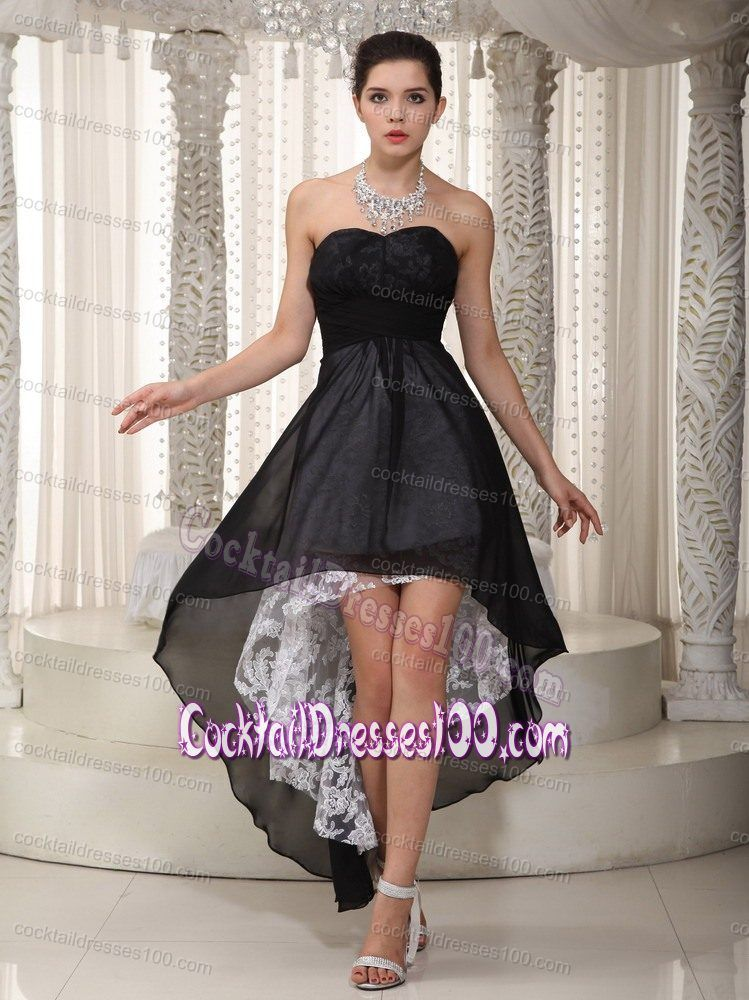 Black Strapless Lace Decorate High-low Cocktail Party Dresses ...