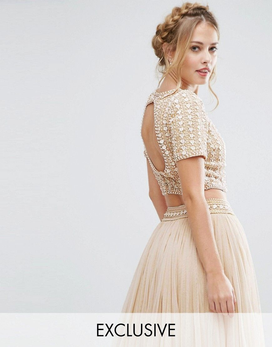 86a7259df5 Lace   Beads Cropped Top with Embellishment and Open Back Co Ord - Cream.  Top by Lace Beads