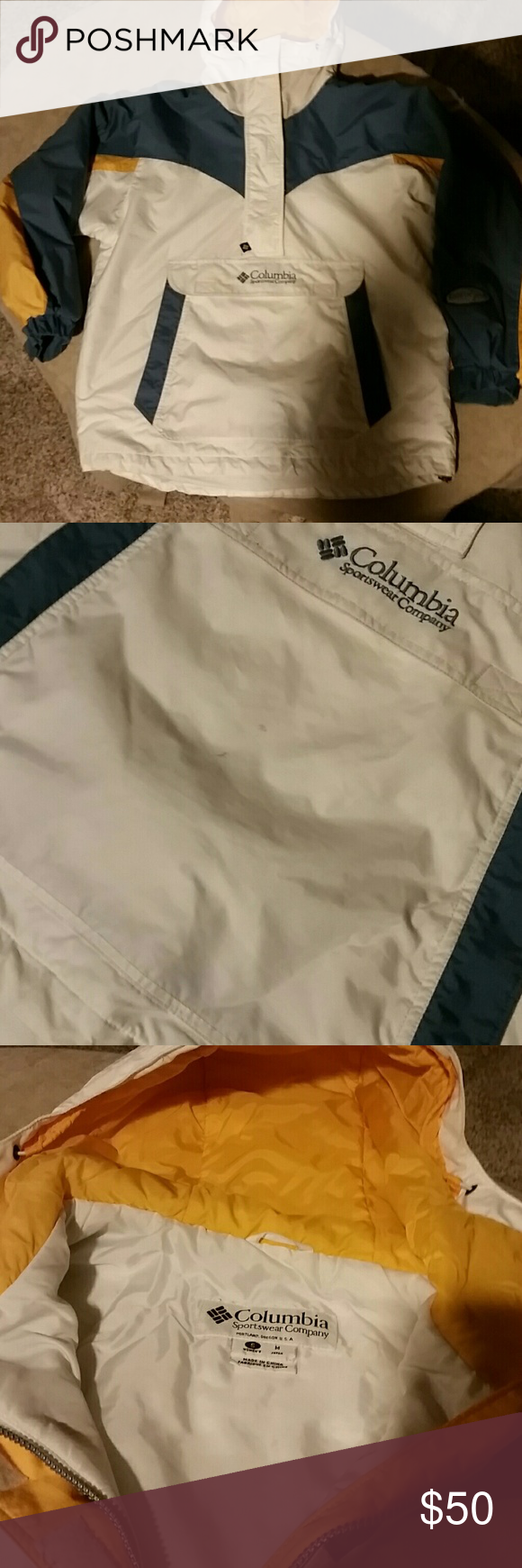 Women's Columbia Pullover Size small, fits like a Med or Large. Thick warm ski coat. Excellent condition, note some black spots on front pocket, I have not tryed to remove. Note a few small black spots on on white part of hood also. Otherwise condition is in great used condition. Columbia Jackets & Coats