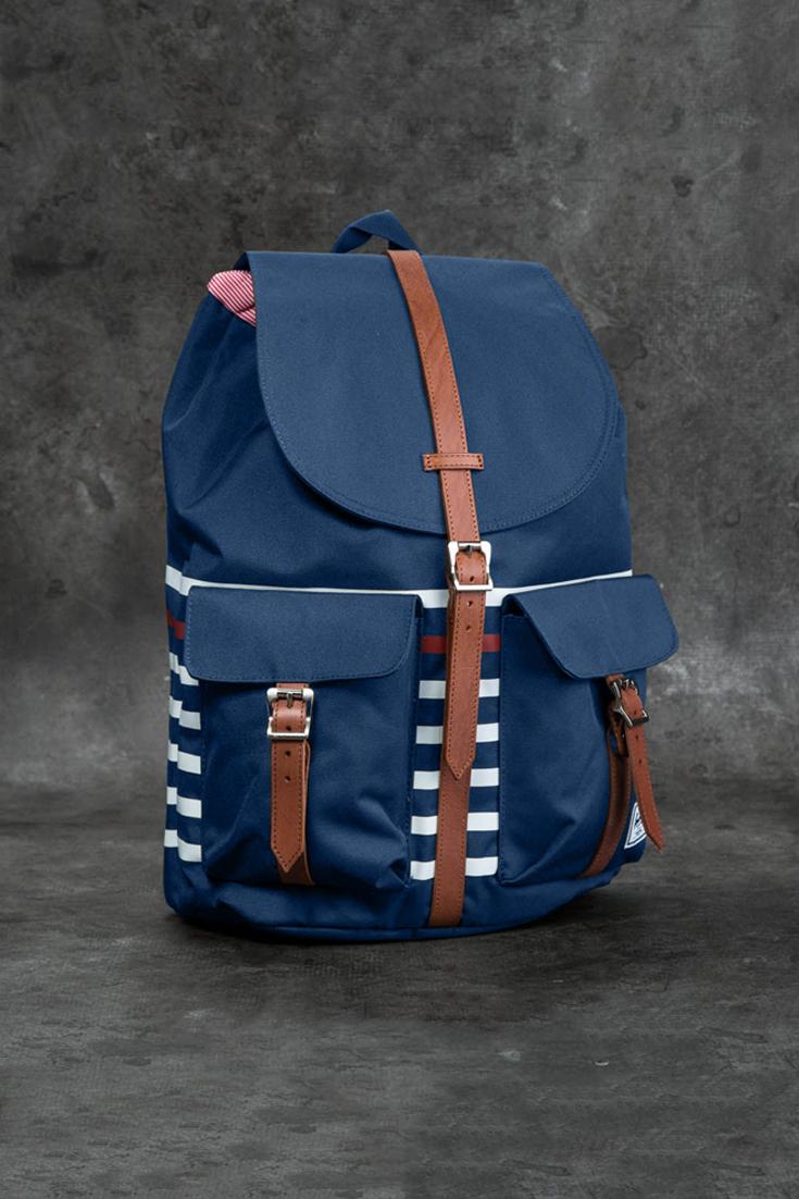 159c484d2f9 Herschel Classics Dawson rugzak Navy Offset Stripe Veggie Tan Leather nu  met 25% korting