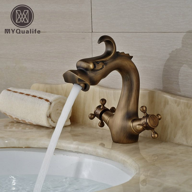 Bathroom Dragon Dual Handles Black Brass Basin Vessel Sink Mixer Faucet Taps