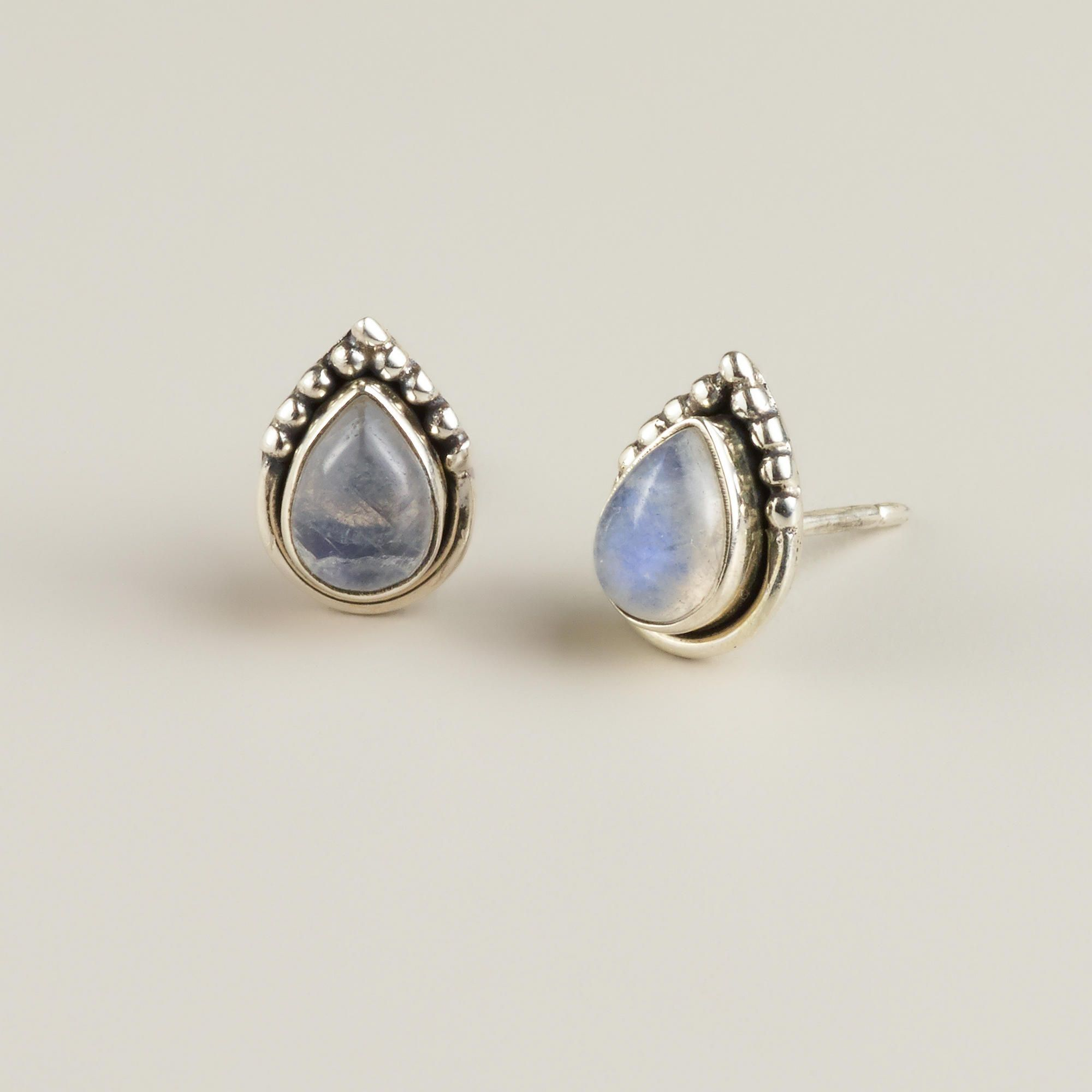 Sterling Silver and Moonstone Teardrop Stud Earrings
