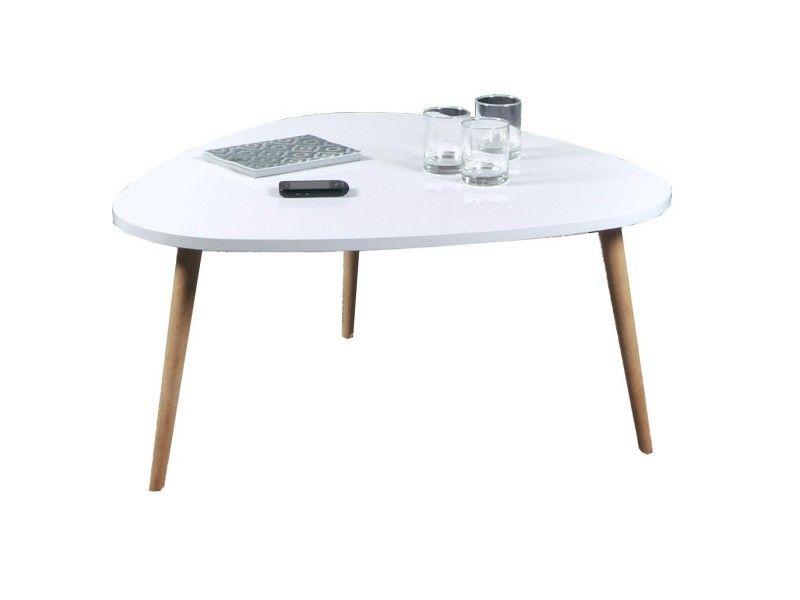 Galet Table Basse Panneau De Particules Blanc 80 X 80 X 40 Cm
