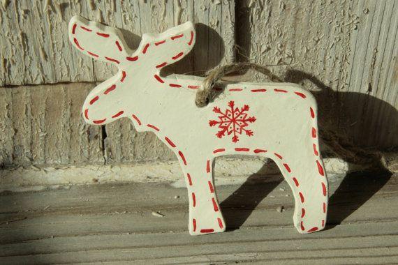 Scandinavian Reindeer Christmas Decoration Clay Nordic Etsy Christmas Reindeer Decorations Red Christmas Ornaments Nordic Christmas Decorations