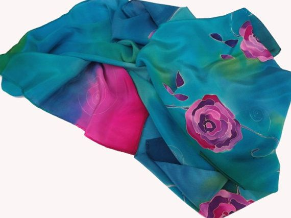 02fd0e4ec5a Turquoise silk scarf with theme of purple roses. Hand painted by ...