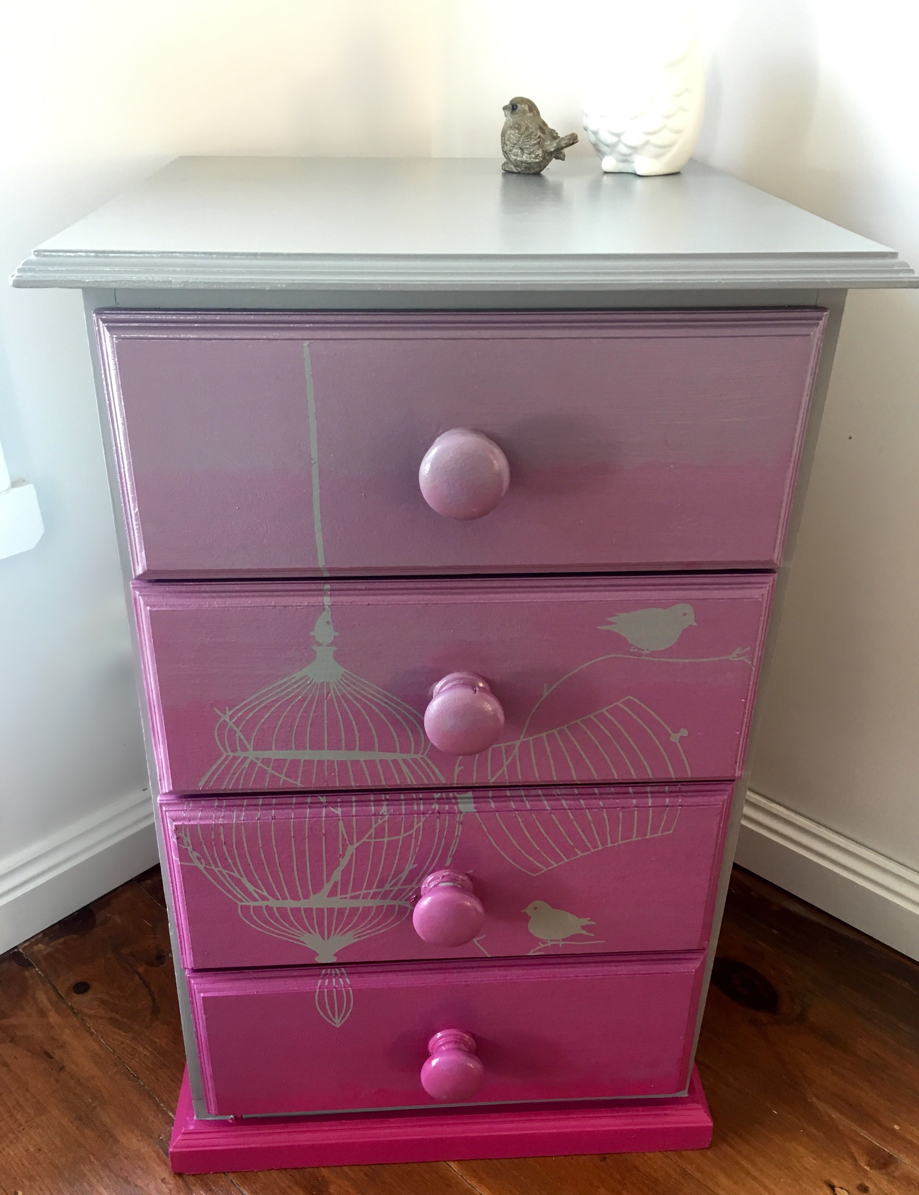 painted kids furniture. Ombré Painted Chest Of Draws. Bird Cage Girls Furniture. Kids Furniture