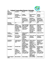 School Counseling Master Calendar