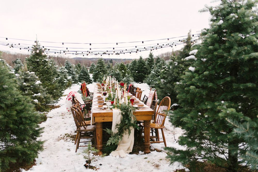 Christmas Tree Farm Wedding Inspiration With Tradition Ruffled Farm Wedding Tree Farms Winter Wedding Planning