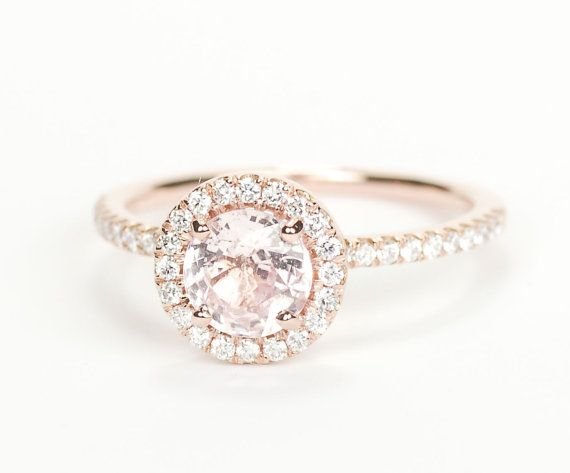 Certified Peach Pink Round Sapphire Diamond Halo Engagement Ring 14K Rose  Gold