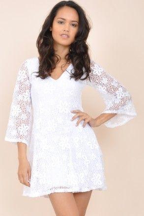 Crochet Flare Mini Dress