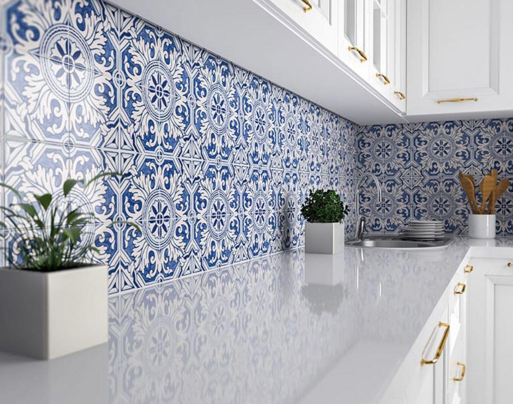 Byzantine Florid Arabesque Bianco Ceramic Wall Tile Lantern In 2021 Ceramic Wall Tiles Wall Tiles Kitchen Tiles Backsplash