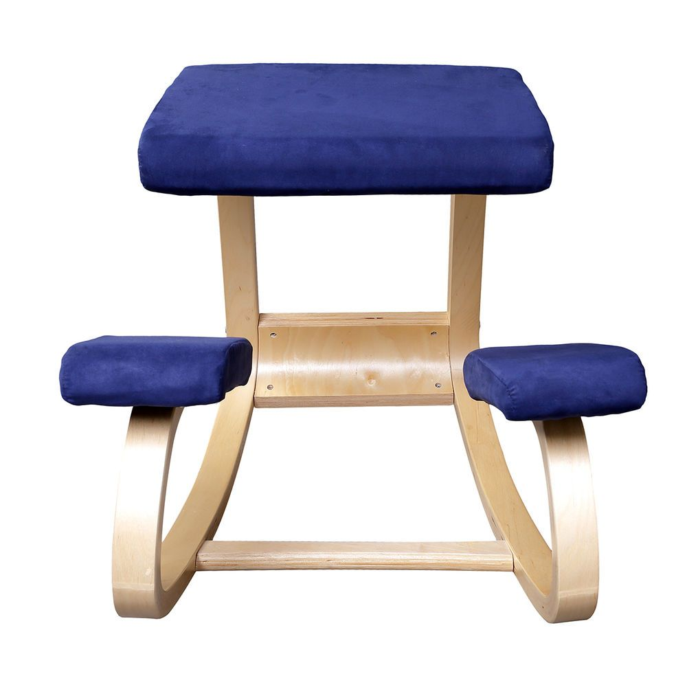 Ergonomic Wooden Kneeling Office Chair Blue Fabric Wood