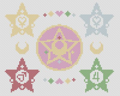Photo of Sailor Moon – Crystal Star and Star Wands – Cross Stitch Pattern!