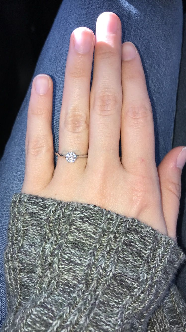 Six Prong Thin Band Solitaire Diamond And White Gold Engagement Ring White Gold Engagement Rings Lovely Ring Plain Bands