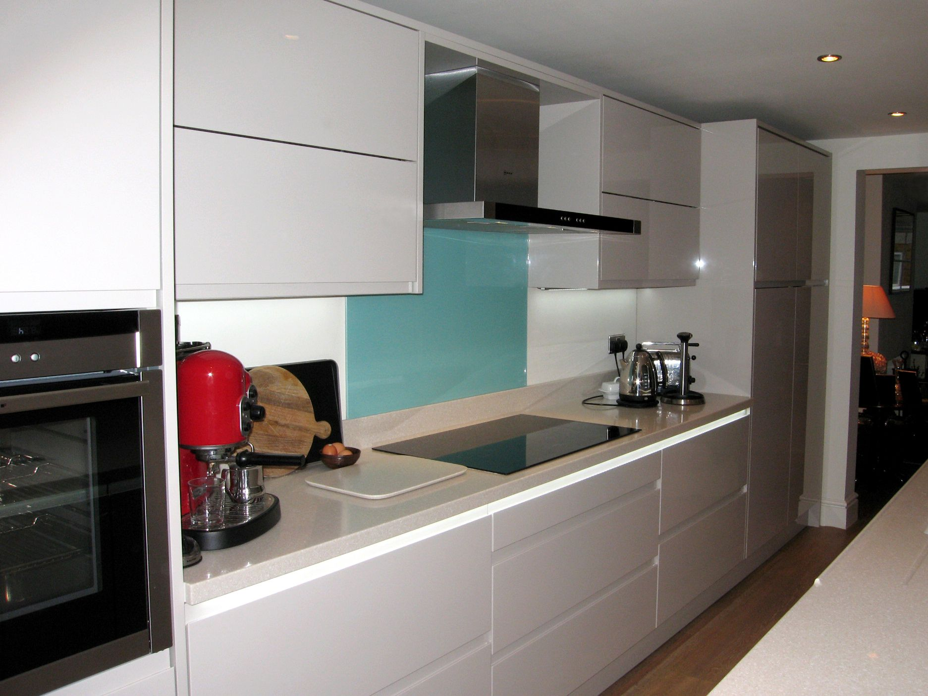 Black Induction Hob On White Work Tops