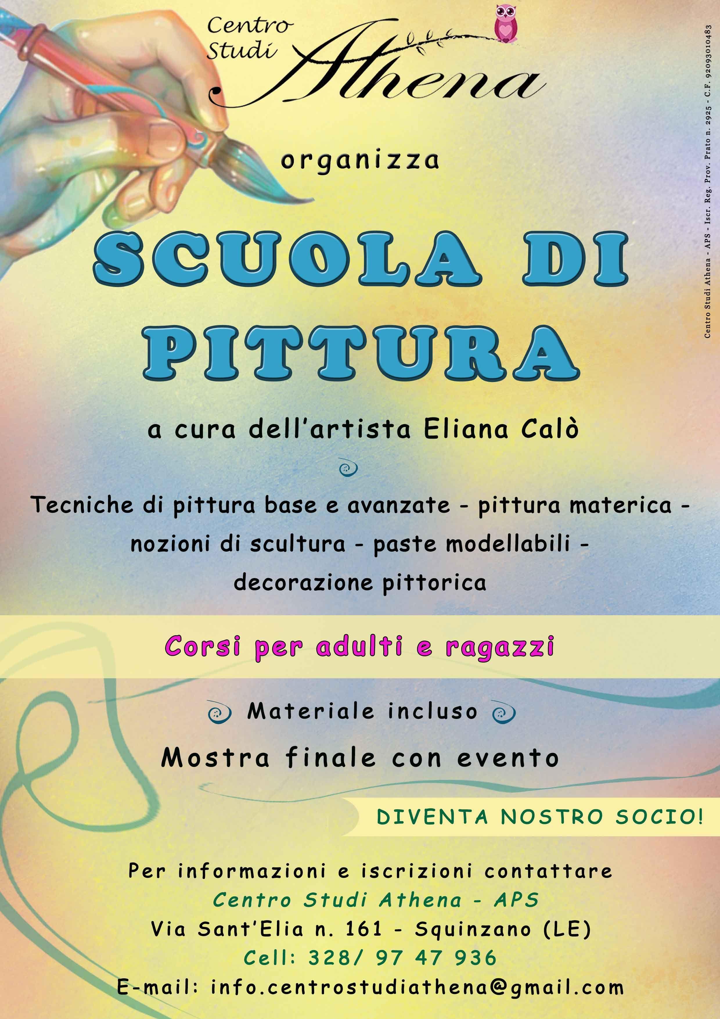 Locandina creata per Centro Studi Athena - APS - Per Corso di Pittura per adulti e ragazzi