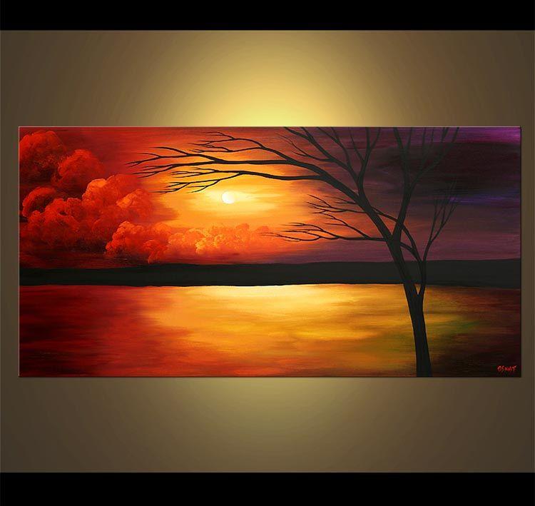 Landscape Painting Sunset Painting Landscape Colorful Tree 4343 Sunset Painting Seascape Paintings Modern Landscape Painting