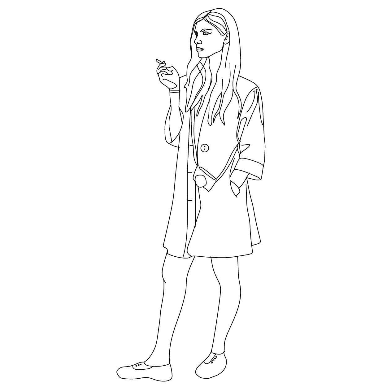Woman Standing Smoking