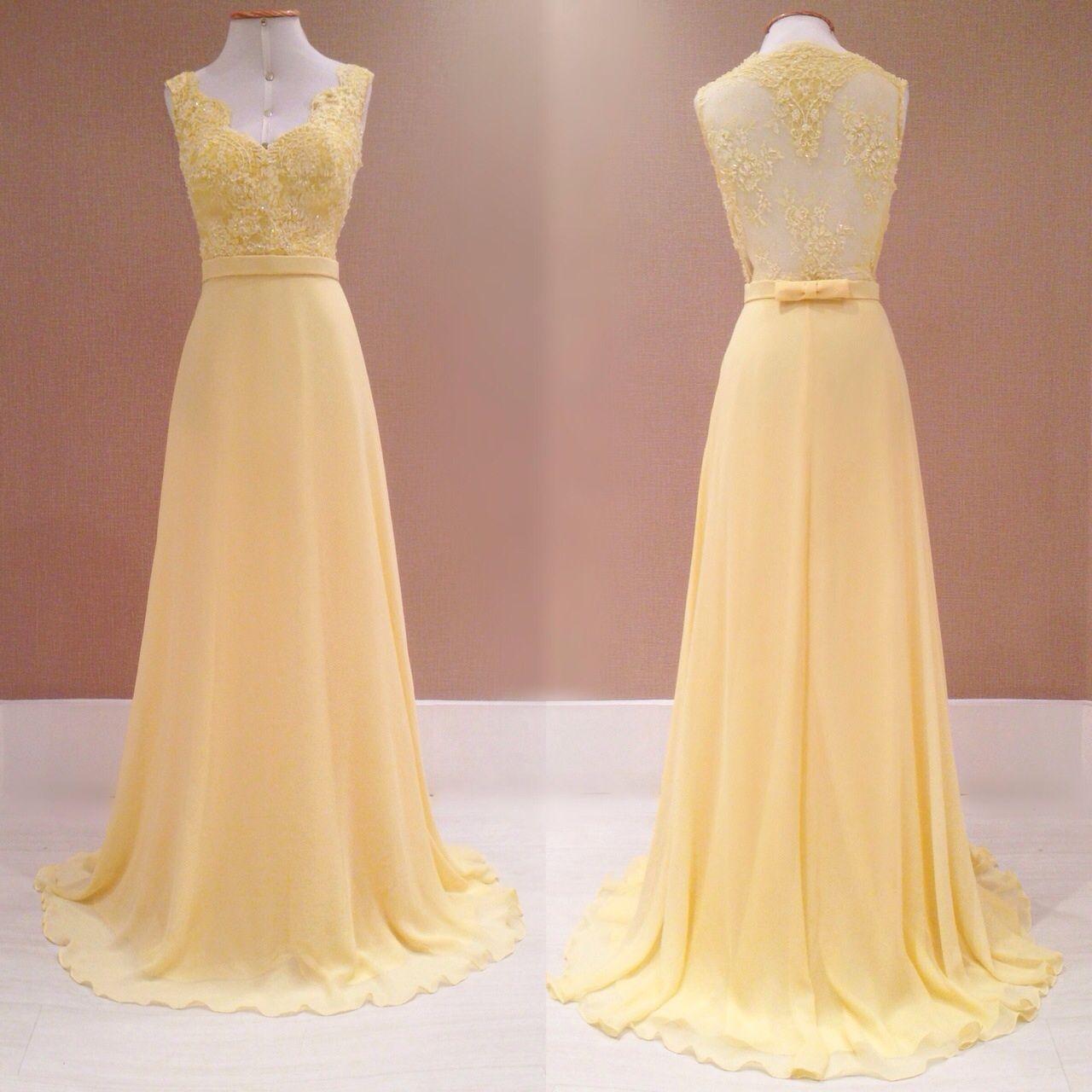 Vestido social amarelo de renda