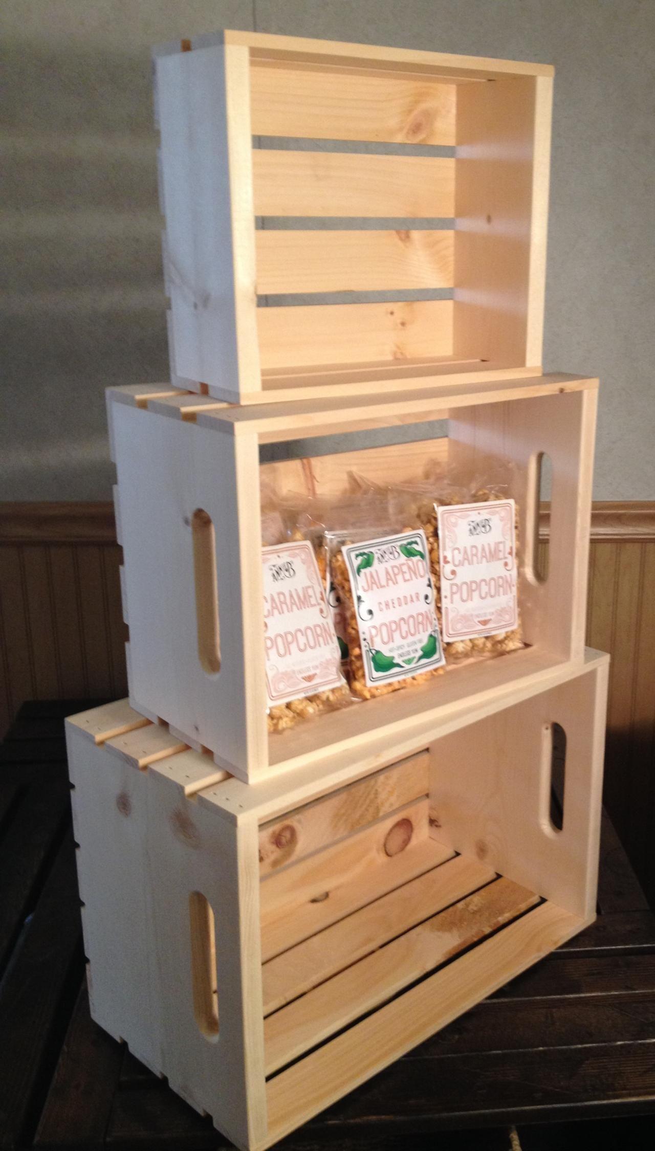 Stacking Crates SET OF 4 Rustic Wood Display Shelf Crates-Retail-Books-Shelves