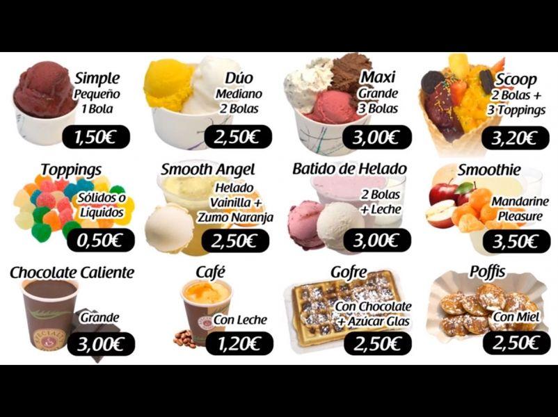 Carta dinámica de precios de productos para heladería