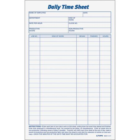 Tops Daily Time Sheet Form White 2 Pack Quantity Walmart Com Time Sheet Printable Sheet Budget Mom