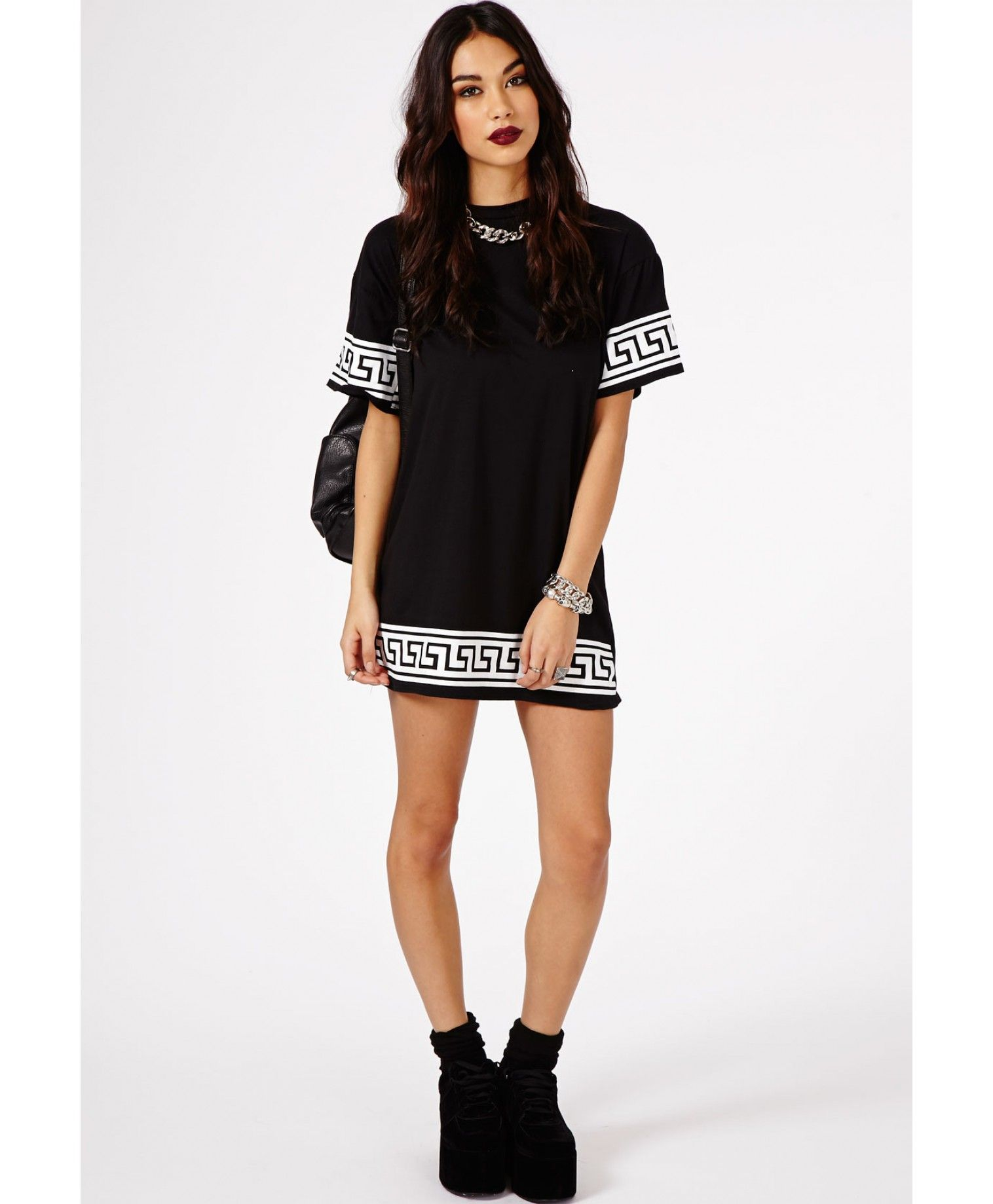 d9bc0dde91a Kikita Greek Key Print Oversized T-Shirt Dress In Black - Dresses - Mini  Dresses - Missguided