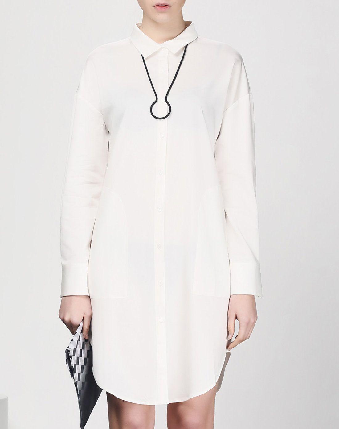 White Plain Shirt Dress With Pockets - AdoreWe.com