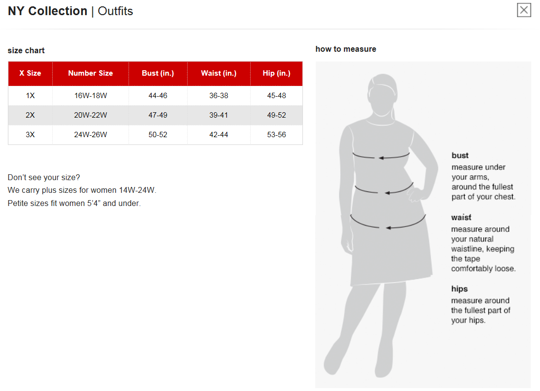 Ny collection plus size chart via macys brand name plus size