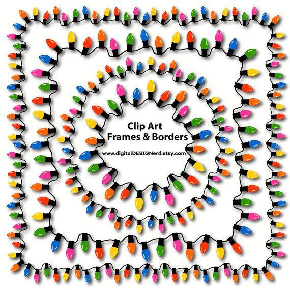 Clip Art Frames & Borders - Christmas String Lights Collection - Multicolor Bulbs (Set of 18 Digital Scrapbook Embellishments)