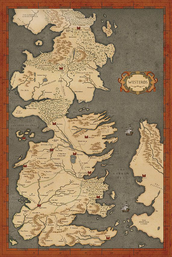 Game of thrones map vintage style westeros by for Decoration murale game of thrones