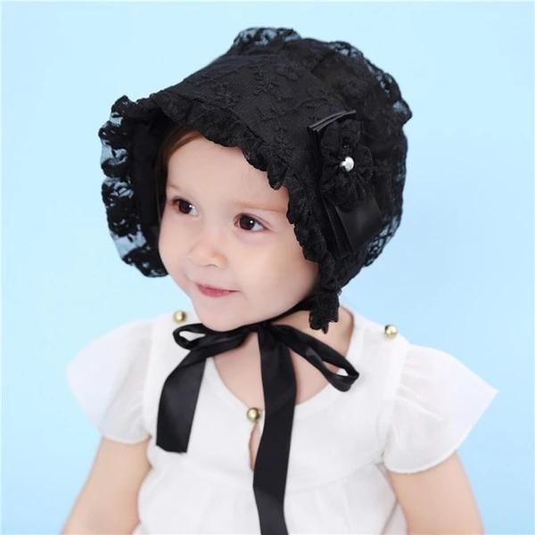 Princess Style Newborn Baby Girls Lace Bowknot Flower Hat Cap Beanie Bonnet L