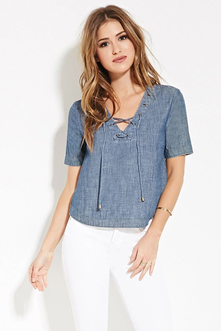 Lace-Up Chambray Top | Forever 21 #forever21denim