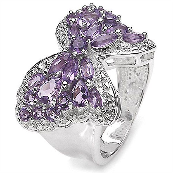 3.40 Carat Genuine Amethyst Butterfly Theme Silver Ring
