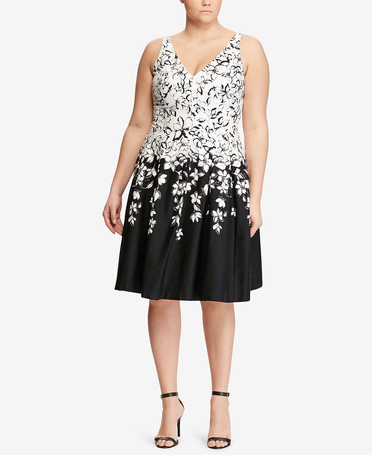 Lauren Ralph Lauren Plus Size Floral Print V Neck Dress