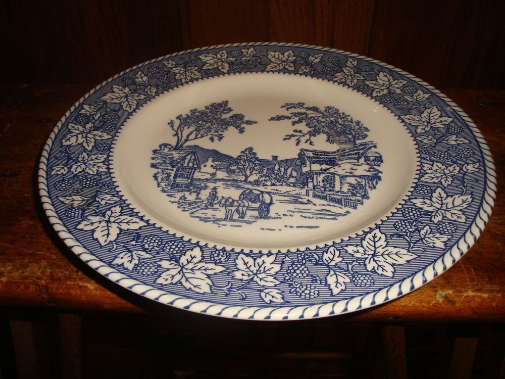4 Homer Laughlin Shakespeare Country Dinner Plates Stratwood Blue u0026 White #HomerLaughlin & 4 Homer Laughlin Shakespeare Country Dinner Plates Stratwood Blue ...