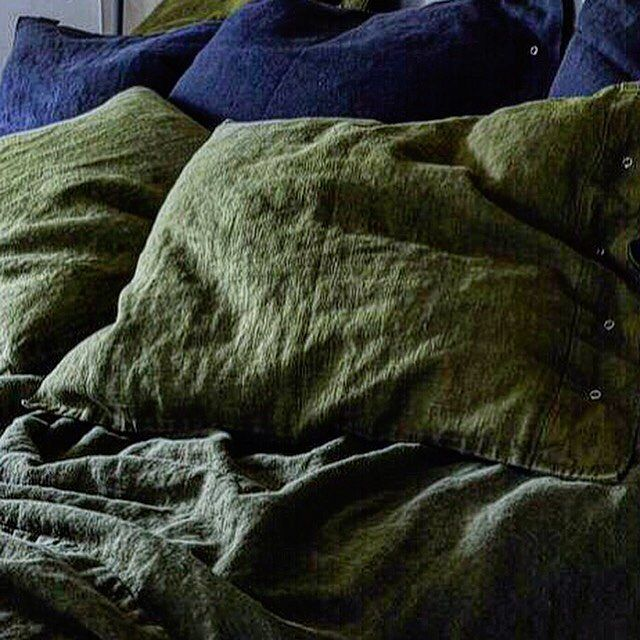 Instagram media by kardelenhome - Lovely Jeep Green 100% linen #linen #kardelen #lovelylinen