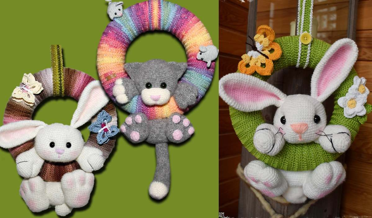 """Wreath Animals Free Crochet Pattern - Crochet wreath pattern, Crochet wreath, Bear patterns free, Free crochet pattern, Crochet patterns, Easter crochet - These cute wreath animals are a great idea for a door decoration  The ami """"door knockers"""" are a great idea for a holidaythemed door hanger (bunny for Easter, cat for Halloween and so on) but can be used anywhere, such as on a child's door  In a pattern you will"""